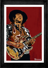 Load image into Gallery viewer, HWY101BLUES ~ STEVIE RAY VAUGHAN ~ SRV FLOOR IT ~ 12x18 FRAMED PRINT