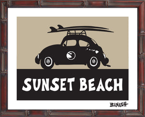 OAHU ~ CATCH SAND ~ SUNSET BEACH ~ BUG ~ BLACK N TAN ~ BAMBOO FRAME