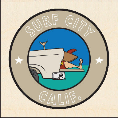 SURF CITY ~ TAILGATE GREM ~ BIRCH WOOD PRINT ~ 6x6