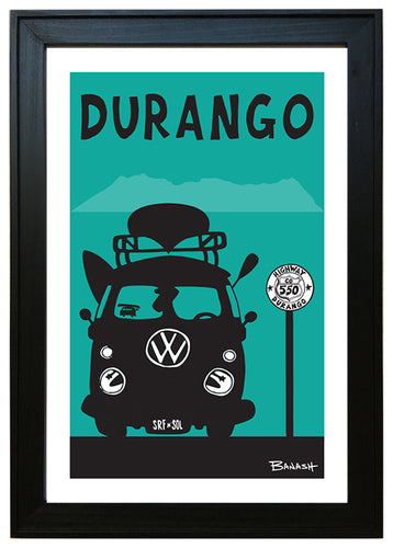 DURANGO ~ RIVER RIDE VW BUS ~ BLACK FRAMED PRINT ~ 12x18