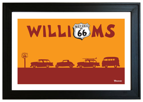 ROUTE 66 ~ WILLIAMS ~ ARIZONA ~ ROW OF HOT RODS ~ BLACK FRAMED PRINT ~ 12x18