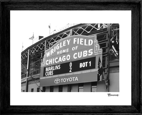 CHICAGO ~ WRIGLEY FIELD ~ BLACK FRAMED PRINT ~ 16x20