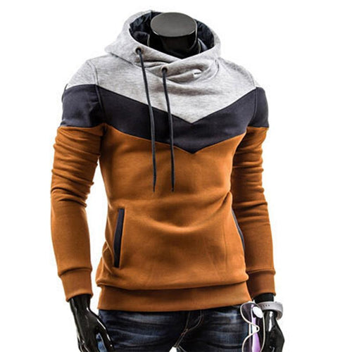 Drawstring Pocket  Color Block Mens Hoodie