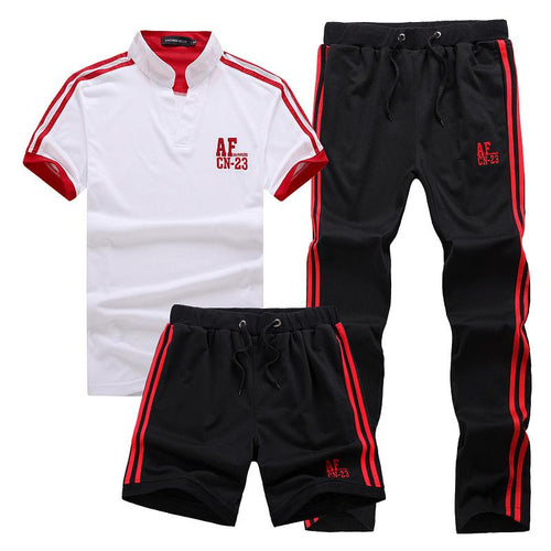 Spring And Summer Cotton Short-Sleeved T-Shirt Casual Trousers Shorts Wild Three-Piece Suit