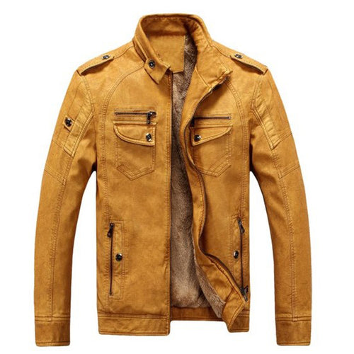 Plain Stand Collar Fleece Men's Leather Jacket