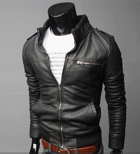 Mens Fit Fashion Leather Jacket PU Jacket