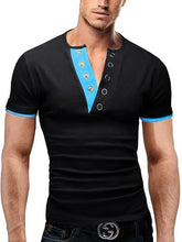 Load image into Gallery viewer, V-Neck Iron Buckle Spell Color Design Fashion Men's Short-Sleeved T-Shirt
