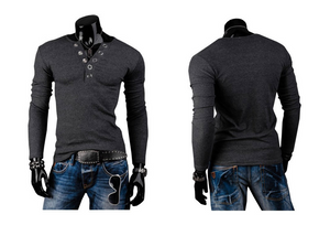 Prong Annular V-Neck Buckles Sanding Cultivating Long-Sleeved T-Shirts