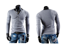 Load image into Gallery viewer, Prong Annular V-Neck Buckles Sanding Cultivating Long-Sleeved T-Shirts