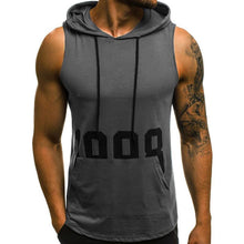Load image into Gallery viewer, Men's Sleeveless Printed Sweater Hooded T-Shirt