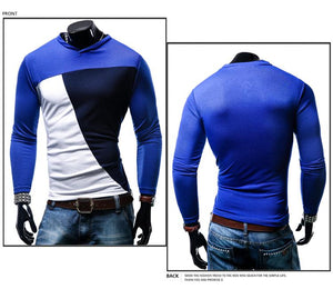 Men's Multicolor Stitching Casual Long Sleeve T-Shirt