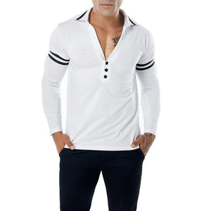 Men's Solid Color Deep V-Neck Long Sleeve T-Shirt