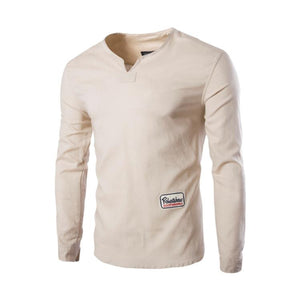 V-Neck Button Long Sleeve 2 Colors