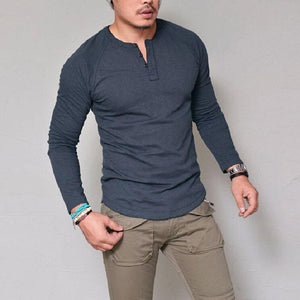 Round Neck Solid Color Button Long Sleeve T-Shirt