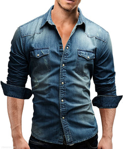 Fashion Lapel Plain Cowboy Shirt