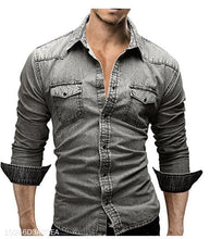 Load image into Gallery viewer, Fashion Lapel Plain Cowboy Shirt