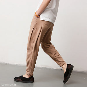 Casual Thin Cotton And Linen Plain Haren Pants