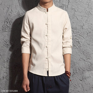 Fashion Plain Lapel Cotton And Linen Button Shirt