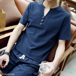 Casual V Collar Button  Plain Shirt