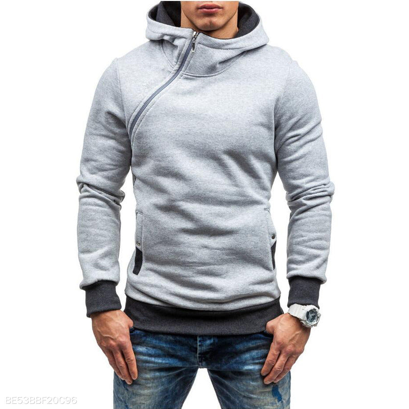 Casual Plain Zipper Loose Hoodie
