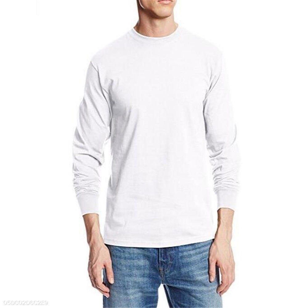 Fashion Youth Loose Plain Round Neck Long Sleeve Top