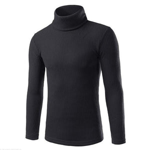 Fashion Youth Casual Plain High Collar Long Sleeve Sweater