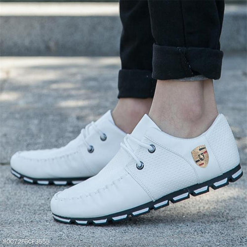 Fashion Casual Color Block Shoelace Leather Mens Shoes