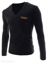 Load image into Gallery viewer, V-Neck Leather Logo Long Sleeve 3 Colors