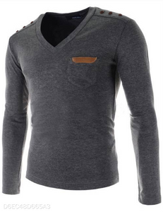 V-Neck Leather Logo Long Sleeve 3 Colors