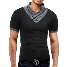 Load image into Gallery viewer, Men's High Collar Casual Button T-Shirt
