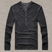 Load image into Gallery viewer, European Size Mens Henley Shirt 100% Cotton