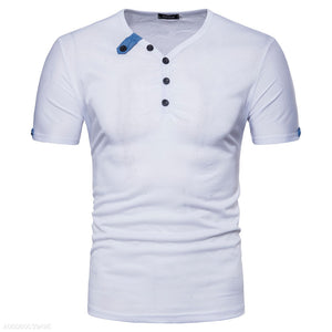 Cotton Blue Collar Button V-Neck T-Shirt 5 Colors