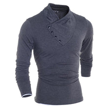 Load image into Gallery viewer, Men's Diagonal Button Collar Slim Long Sleeve T-Shirt