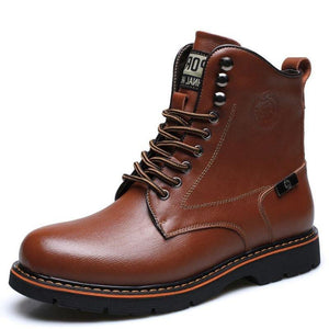 Men's Metal Eyelets High Top Water Resistant Classic Work Casual Boots