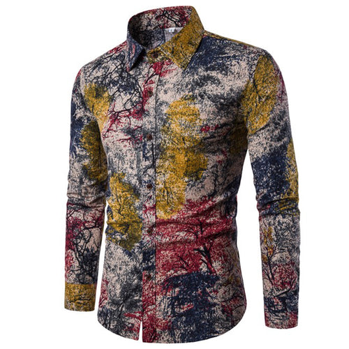 Men Plus Size Floral Printing Leisure Shirts