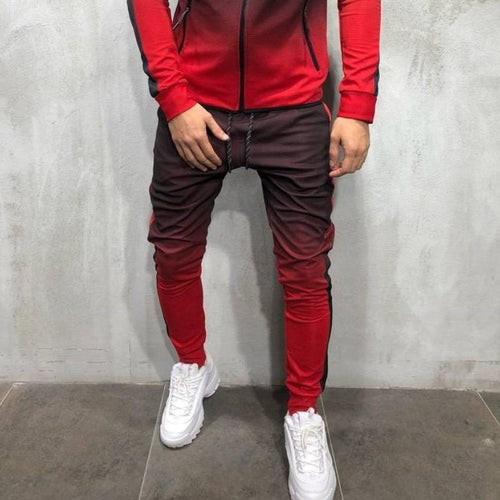 Mens Gradient Zipper Jogger Pants 4 Colors