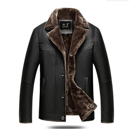 Fashion Plain Lapel Collar Packets Leather  Coat