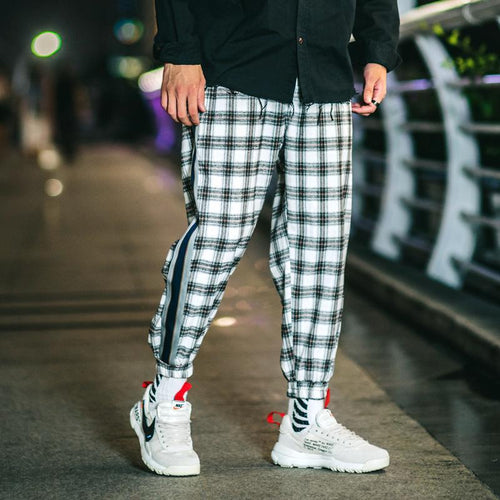 Fashion Check Printed Elastci Waist Loose Jogger Pants