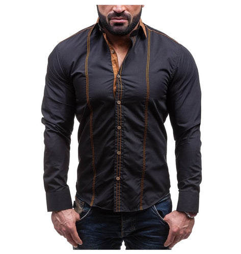 Men Casual Slim Solid Long Sleeve Shirt