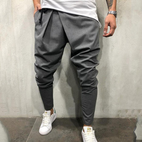 Mens Casual Plain Slim Elastic Waist Pencil Pants