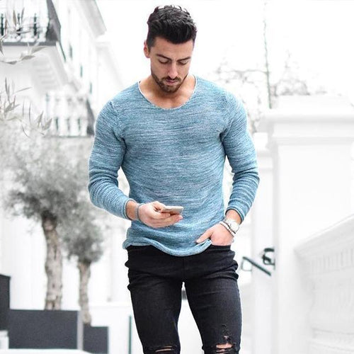 Fashion Long Sleeve Round Neck Slim Men's T-Shirt