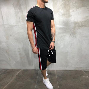 Fashion Solid Color Contrast Stripe Short Sleeve Tracksuit