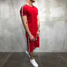 Load image into Gallery viewer, Fashion Solid Color Contrast Stripe Short Sleeve Tracksuit