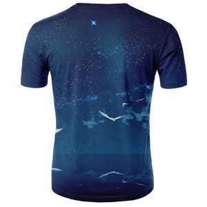 Men Round Neck Print Short Sleeve T-Shirt