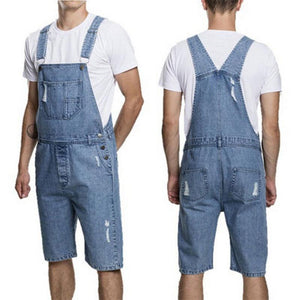 Denim Hole Overalls Suspenders Short Jumpsuit