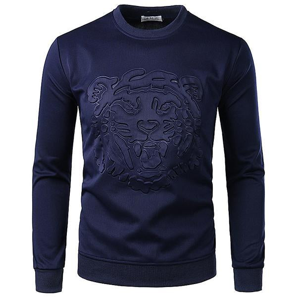 Men's Fashion Solid Color Tiger Embossing Sweatshirt