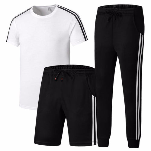 Summer Short-Sleeved Shorts Sports Men's Sports 3-Piece Suit