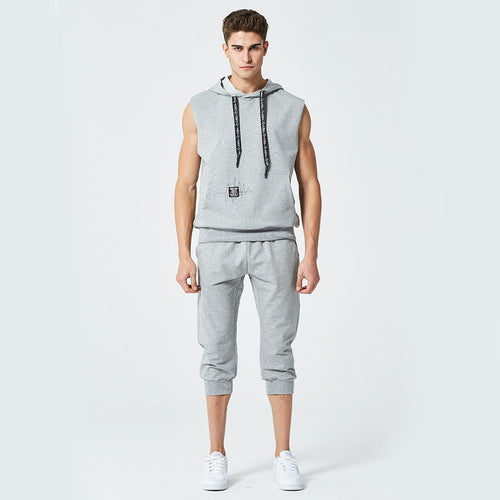 Sleeveless Hooded Pullover Cropped Trousers Casual Suits