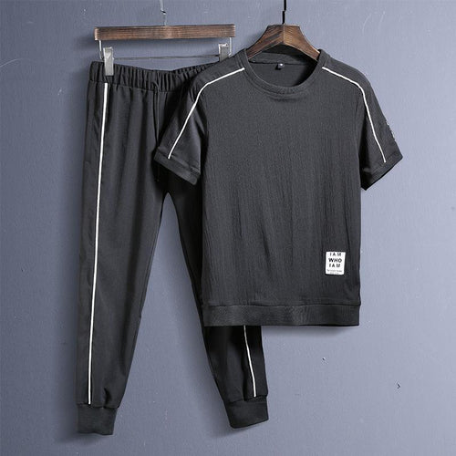 Sports Linen Casual Fitness Male Running Suit