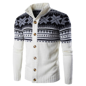 Fashion Youth Casual Slim Floral Round Neck Long Sleeve Men Sweater